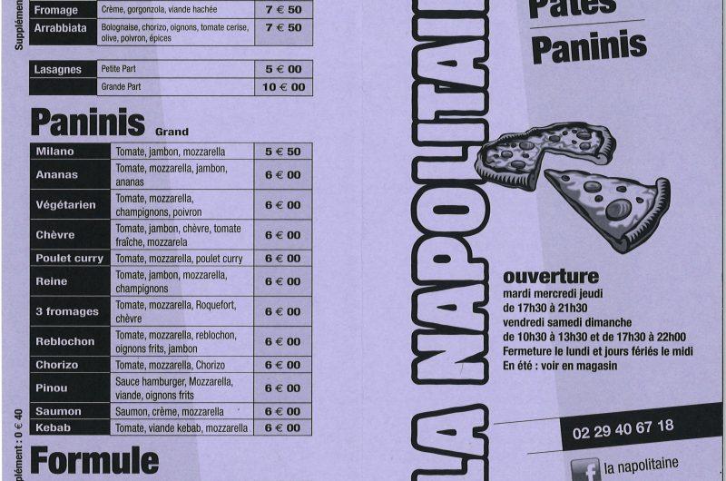 Carte 2021 – Pizzeria La Napolitaine